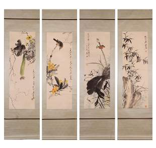 A Group of Four Bird with Flower Painting, Tang Yun
