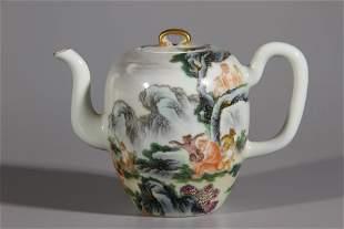 A Landscape Famille Rose Porcelain Teapot