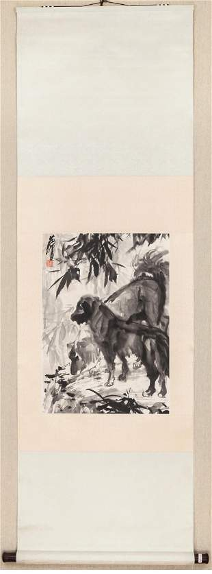 A Chinese Dog Painting, Huang Zhou Mark