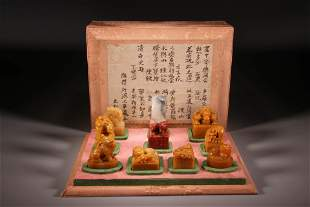 A Group of Ten Carved Beast Tianhuang Stone Seal