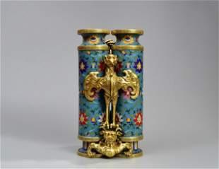 A Phoenix with Flower Pattern Cloisonne Double Vase