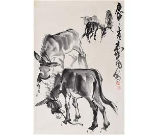 A Chinese Group of Donkey Painting, Huang Zhou Mark