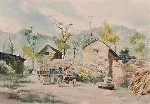 A CHINESE PAINTING OF COUNTRYSIDE VIEW