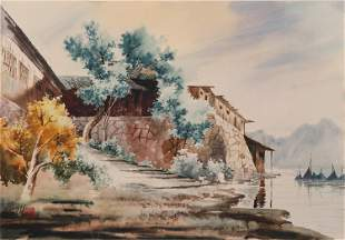 A CHINESE PAINTING OF RIVERBANK