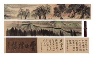 A CHINESE PAINTING HAND-SCROLL OF SPRING LANDSCAPE