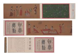A CHINESE SCROLL PAINTING OF LADIES STORY