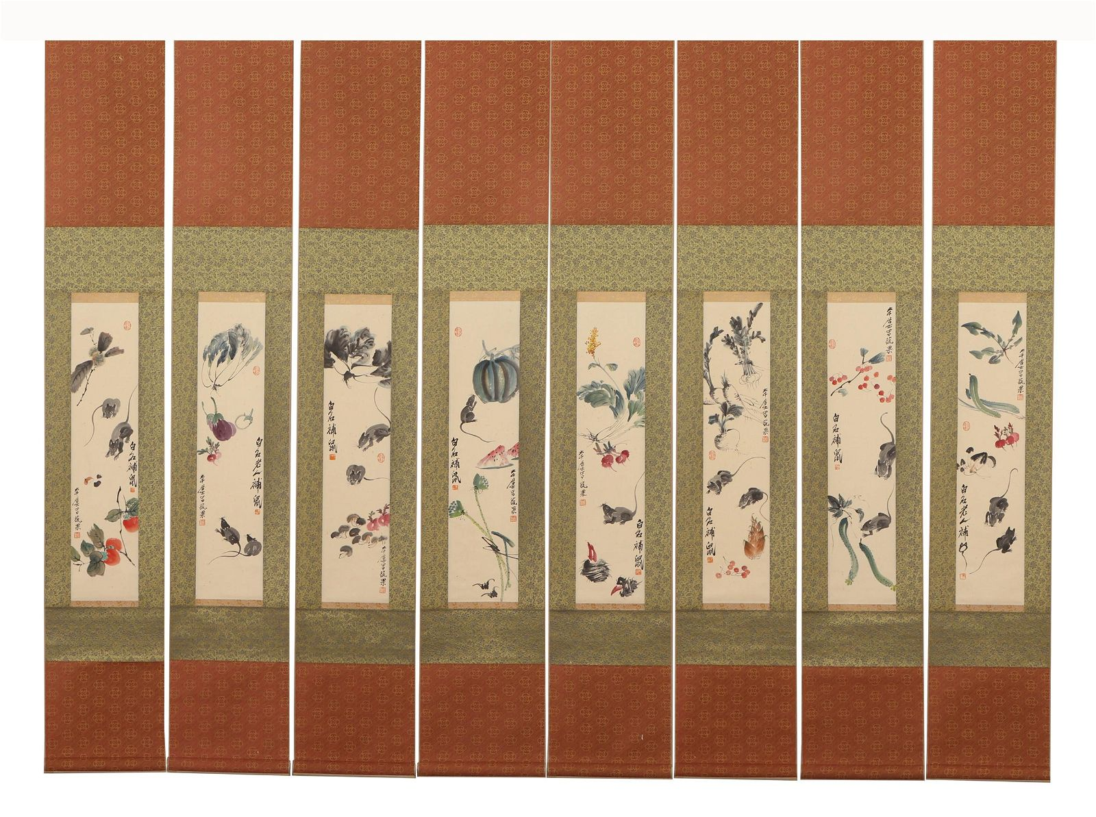 A Set of Eight Hanging Scrolls of Mouses and Vegies