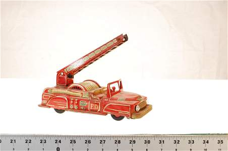 VINTAGE TIN FIRE TRUCK MADE IN JAPAN #110