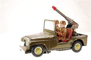 US ARMY 6607 JEEP - TIN TOY VINTAGE BATTERY OPERATED