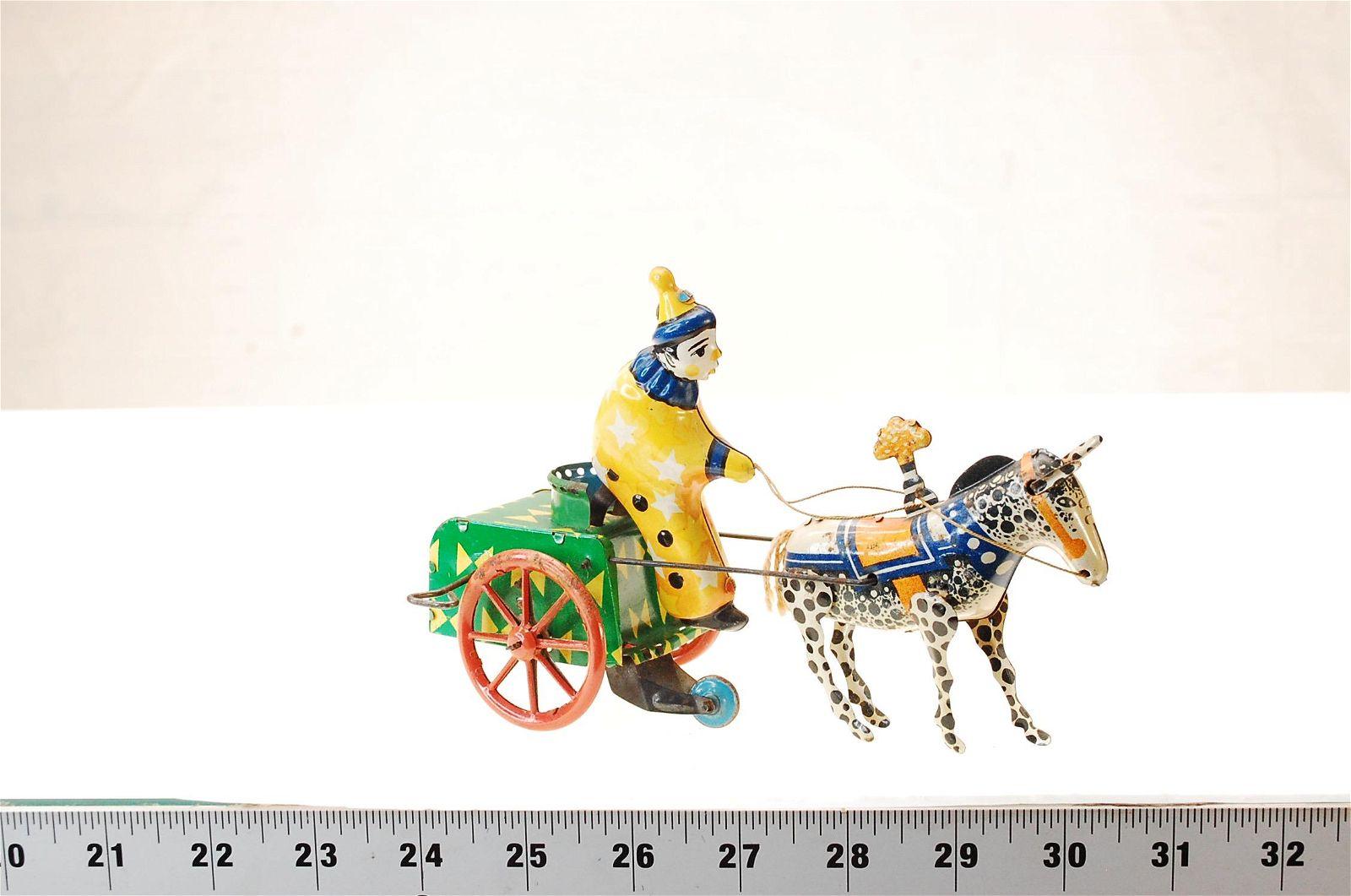 Antique Rare Old Wind-up Tin Toy Circus Clown Horseman