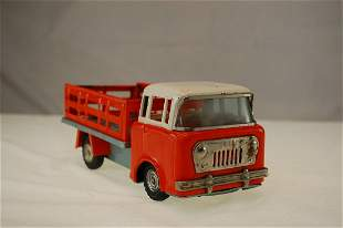 JEEP FC150 STAKE BED PRESSED TIN TRUCK, FRICTION MOTOR