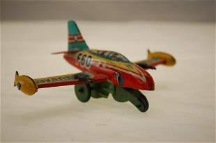 """VINTAGE 4 1/2"""" USAF JAPAN MADE FIGHTER PLANE TIN"""