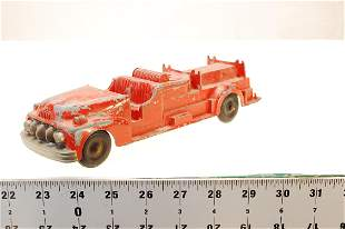 VINTAGE HUBLEY KIDDIE TOY #468 RED PAINTED METAL FIRE
