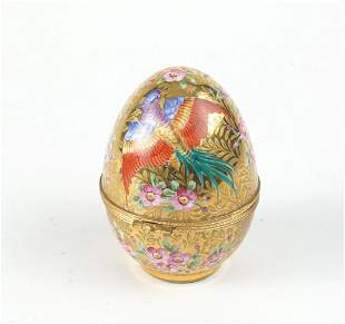 Gilt and hand painted porcelain egg / lid box   h. 9