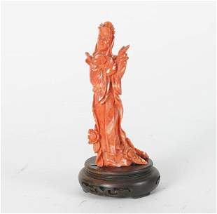 Chinese coral female figure   on wooden base   h. 15