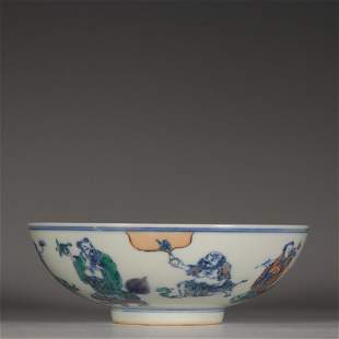 A Doucai Bowl with Eight Immortals