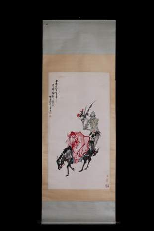 A Chinese scroll of  the demon hunter Zhong Kui