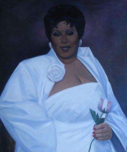 5: Painting, portrait Aretha Franklin