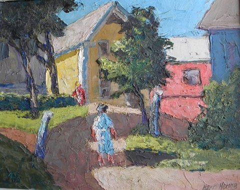 6: Harry  Hering, Untitled People Walking in Townscape,