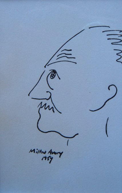 20: Milton  Avery, Self Portrait, original drawing (ink