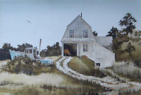 127: Painting, watercolor, Jack Garver, Hardy's Reach