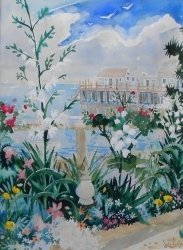 9: watercolor, Provincetown View, Whorf, Julia Kelly