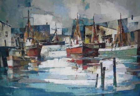 10: oil, Provincetown, John Hare, cubist, Harbor