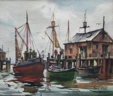 12: watercolor, Provincetown, John Hare, Fishermen
