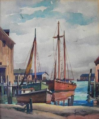 13: watercolor, John Hare, Gloucester, Harbor