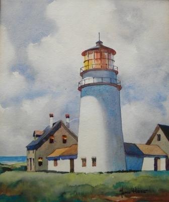 14: Watercolor, John Hare, Highland Light, Cape Cod