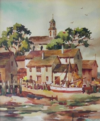 15: Watercolor, John Hare, Provincetown Waterfront