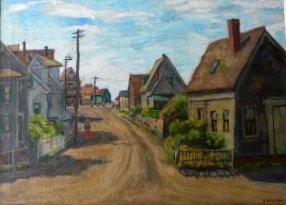 24: oil, Provincetown, Sam Brecher, townscape