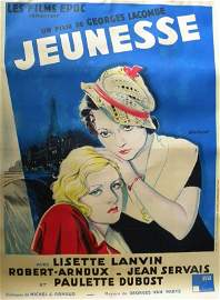 68: Jeunesse 1934 French movie poster on linen, 62 x 46