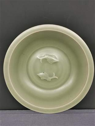 Chinese Celadon Glazed Porcelain Charger in Ming Dynast