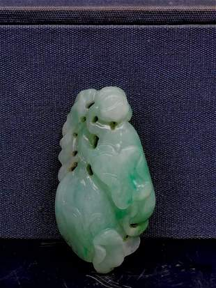 Chinese Qing Dynasty Carved Jadeite Jade Pendant