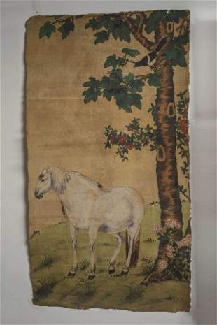 A Horse Painting on Whip Silk