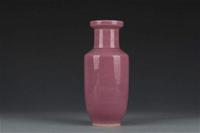 Qing Dynasty Red Glaze Rodlike Porcelain Vase