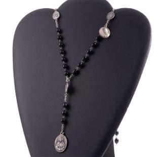Silver Religious Prayer Rosary Jet Necklace