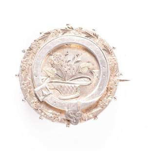 Victorian Silver and Pink Gold Flower Basket Brooch