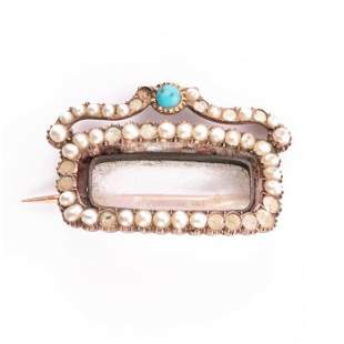 Georgian Pink Gold Turquoise & Pearl Mourning Brooch