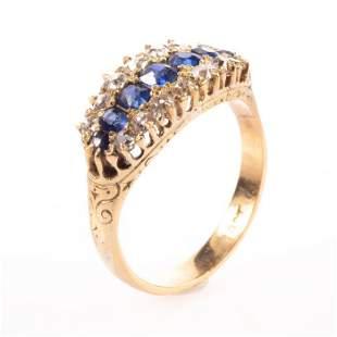 18K Victorian Saphire & 0.50ct Diamond Ring