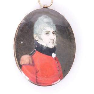 Georgian Gold Miniature Portrait Painting of Officer
