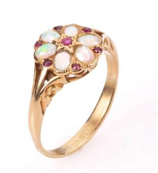 18K Gold Victorian Ruby & Opal Ring