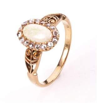 18K Gold Victorian Old-Cut Diamond & Opal Ring