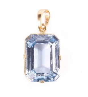 18ct Gold 12.80ct Aquamarine Pendant