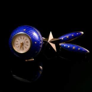 Rolex Tudor Art Deco Enamel Watch Brooch
