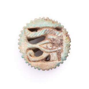 Ancient Egyptian Faience Eye of Horus Amulet ca. 600 BC