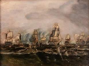 English School Nautical Armada Oil Painting