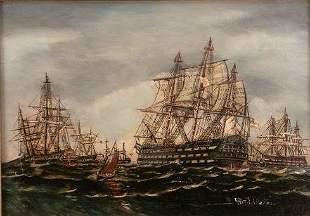 English School Nautical Oil Painting Depicting HMS