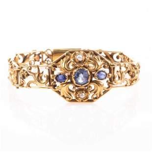 NO RESERVE PRICE 18ct Gold Victorian Sapphire & Pearl